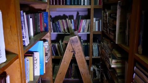 Bookshelves in university library Footage