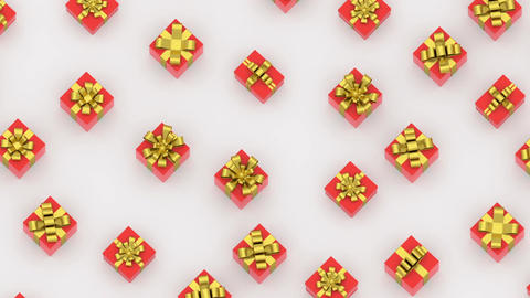 Boxes red ribbon gold isometric loop Animation