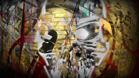 Close up Graffiti and Skull 4K Mix Animation