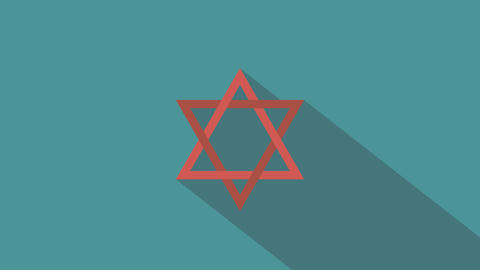 Star of david flat design animation icon Animation