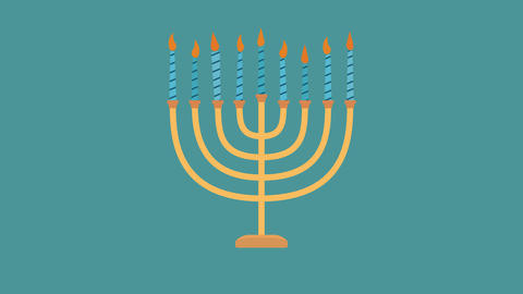 Hanukkah holiday Menora flat design animation icon Animation