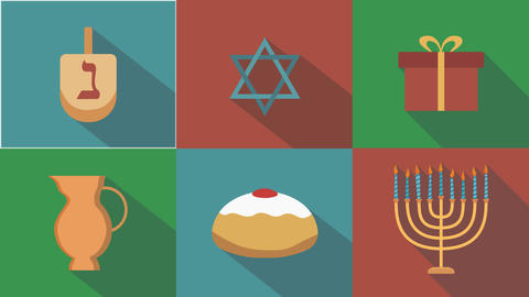 Hanukkah holiday flat design animation icon set with traditional symbols Animation