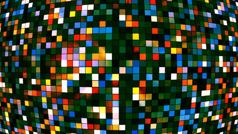 Broadcast Twinkling Hi-Tech Squares Globe, Multi Color, Abstract, Loopable, 4K Animation