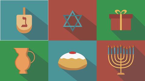 Hanukkah holiday flat design animation icon set with traditional symbols and Animation