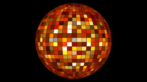 Twinkling Hi-Tech Squares Spinning Globe, Multi Color, Events, Alpha Matte, Animation