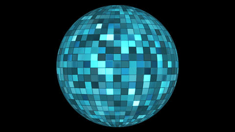 Twinkling Hi-Tech Squares Spinning Globe, Blue, Events, Alpha Matte, Loopable, Animation
