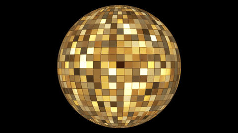 Twinkling Hi-Tech Squares Spinning Globe, Golden, Events, Alpha Matte, Loopable, Animation