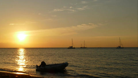 Sunset time lapse at Lovina beach, Bali Live Action