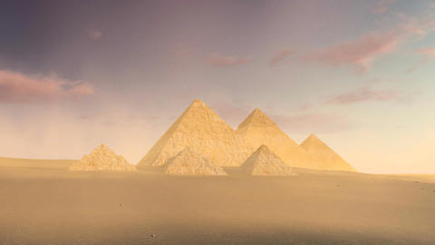 Cloudy sky over Great Pyramids of Giza at dusk Footage