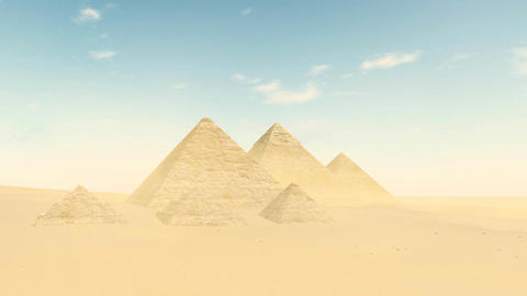 Great pyramids in Giza valley at daytime Live Action
