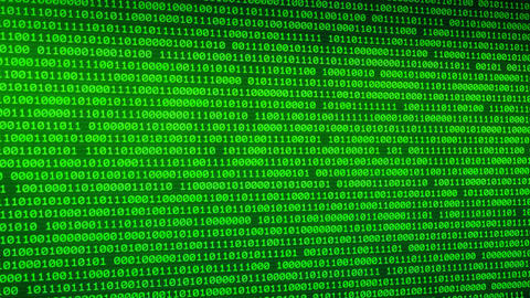 Green binary data background with depth of field programming background Animation