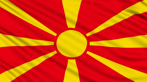 Macedonia Flag, with real structure of a fabric Animation