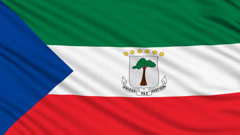 Equatorial Guinea Flag, with real structure of a fabric Animation