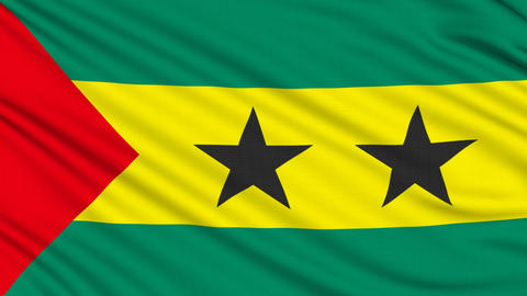 Sao Tome Flag, with real structure of a fabric Animation