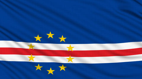Cape Verde Flag, with real structure of a fabric Animation