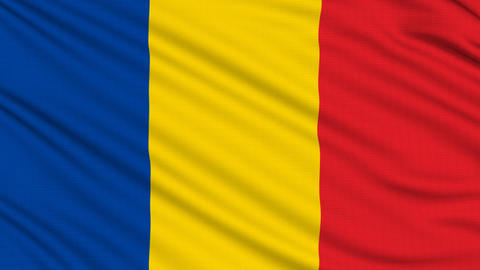 Chad Flag, with real structure of a fabric Animation