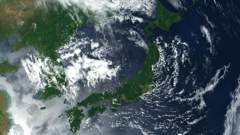 Japan from space. Japanese islands. Zoom. Earth From Space Animation