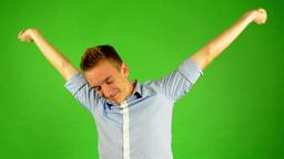 man - green screen - portrait - man wake up - studio Footage