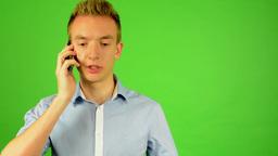 man - green screen - portrait - man on the phone - studio Footage