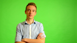 man - green screen - portrait - young man smiles (man is happy) Footage
