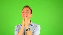 man - green screen - portrait - man is nervous Footage