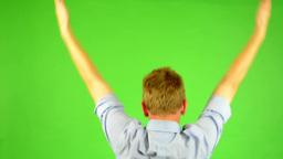 man - green screen - portrait - man rejoices (enjoy) - win Footage