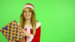 Christmas - Holidays - young attractive woman - green screen - woman receives a  Footage