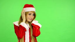 Christmas - Holidays - Young Attractive Woman - Green Screen - Woman Is Upset (n stock footage