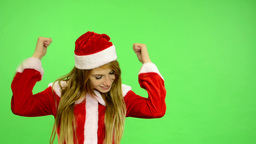 Christmas - Holidays - young attractive woman - green screen - woman rejoices Footage