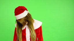 Christmas - Holidays - young attractive woman - green screen - woman kills herse Footage