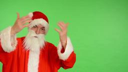 santa claus - green screen - studio - Santa Claus welcomes (invites) Footage