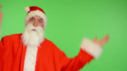 santa claus - green screen - studio - Santa Claus throws up his hands Footage