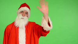 santa claus - green screen - studio - santa claus waves Footage