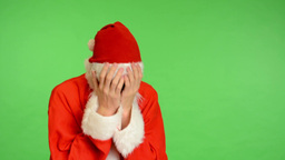 santa claus - green screen - studio - santa claus crying Footage