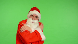 santa claus - green screen - studio - santa claus shiver Footage