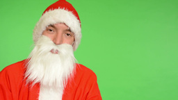 santa claus - green screen - studio - Santa Claus smiles Footage