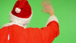 santa claus - green screen - studio - santa claus standing back and waves Footage