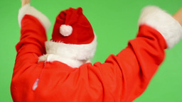 santa claus - green screen - studio - santa claus standing back and rejoices (ha Footage