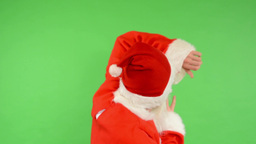 santa claus - green screen - studio - santa claus is scared and runs away Footage