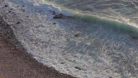 Waves On Rocky Beach Footage
