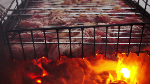 Meat Barbecue Grilled On Charcoal Live Action