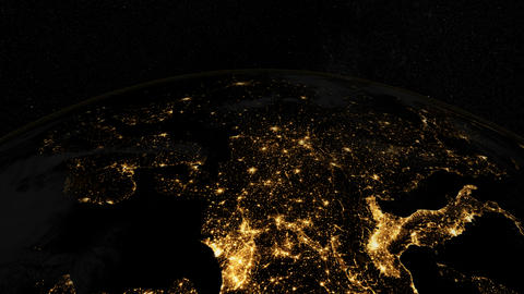 Europe from space. At night. Earth From Space Animation