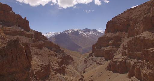 View of Mountains Through Canyon Footage