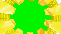 Circular frame gold with chroma green screen Animation