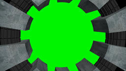 Circular frame of metal with chroma green screen Animation