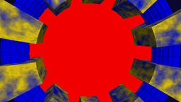 Circular frame yellow blue with chroma red screen Animation