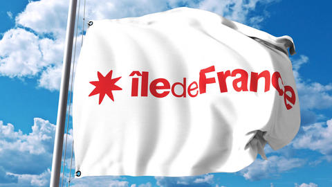 Waving flag of Ile-de-France, a region of France Live Action