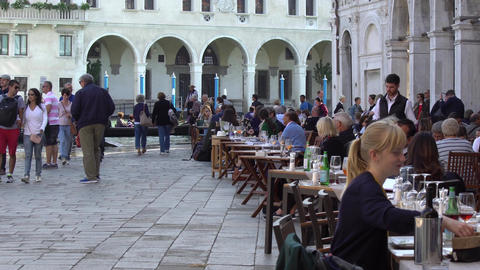 VENICE, ITALY - OCTOBER, 2017: Cozy cafe in Venice, Italy. Venice is a city in Live Action
