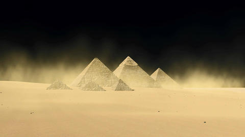 Egyptian Giza pyramids on black background Live Action