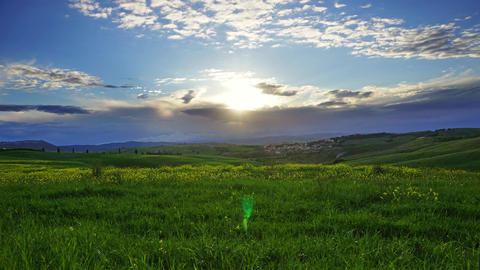 Landscape with field at sunset in Tuscany Footage
